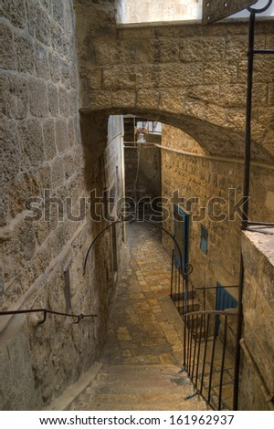 Covered way to bell tower of Saint Sabba Monastery (Mar Saba), Palestine