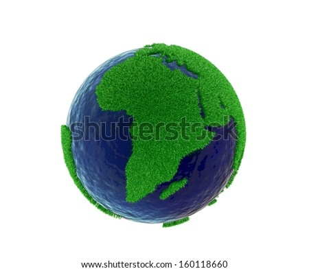 Covering world map with green grass for eco concept  on white background, clipping path included