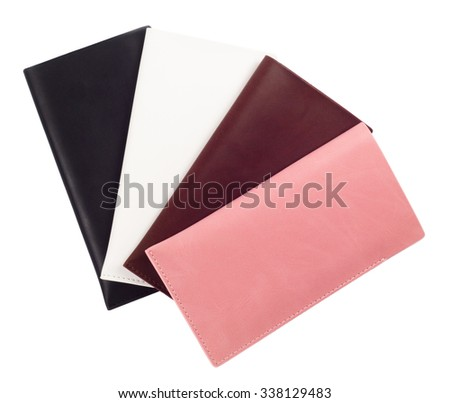 Covers cases for smartphones, phones, from a genuine leather, on a white background