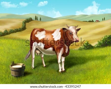 Cow and milk bucket in a rural landscape. Original digital illustration. - stock photo