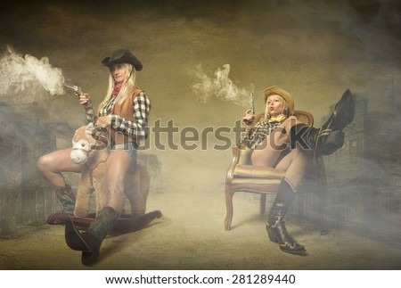 cow boy shooting with guns on hands, abstract western concept - stock photo