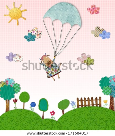cow flying with parachute