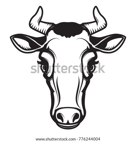 Cow head illustration isolated on white background. Design element for emblem, sign, poster, label.