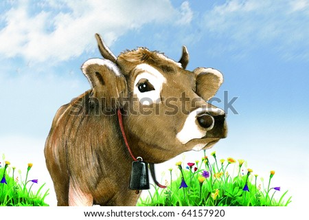 Cow in a meadow - pencil drawing illustration - stock photo