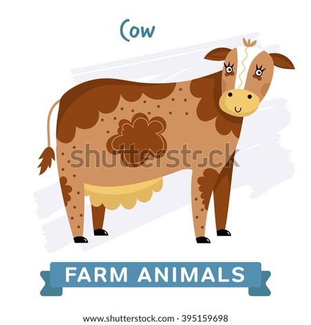 Cow isolated, raster illustration. Farm Animals Series. Cartoon style design. Single Animal on white background. - stock photo