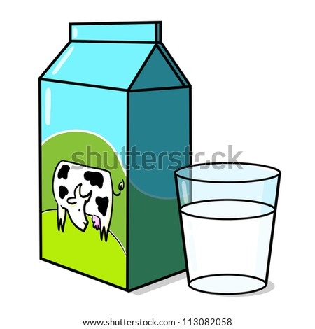 Cow on Milk carton and a glass of milk illustration - stock photo
