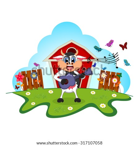 Cow playing guitar cartoon in a farm for your design - stock photo