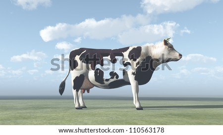 Cow Puzzle could represent modern farming and  processing of beef and dairy products - stock photo