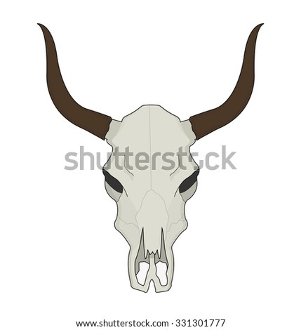 Cow skull. Wild west dead longhorn head color western raster illustration isolated on white
