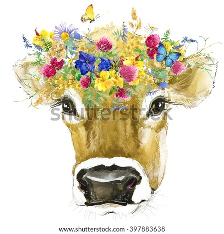 Cow. Watercolor Cow illustration. field flower watercolor background. - stock photo