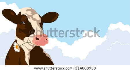 Cow with a flower on a background of blue sky - stock photo
