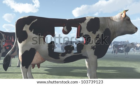 Cow with puzzle piece missing could represent modern farming and  processing of beef and dairy products