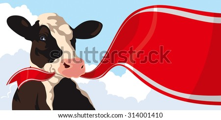 Cow with red ribbon on a background of blue sky - stock photo