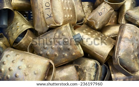 Cowbells for cattle at a local flea market, Biescas, Pyrenees, Huesca, Spain. - stock photo