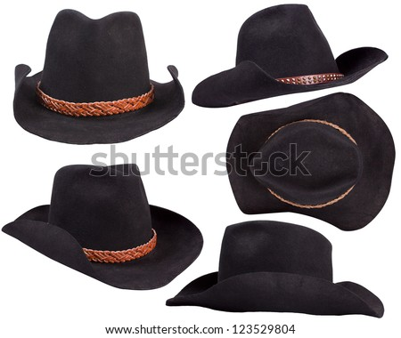 cowboy black hats isolated on white background for design - stock photo