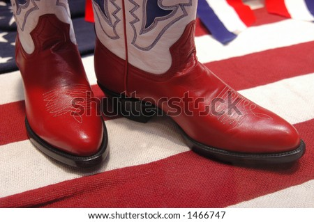 cowboy boots with patriotic theme-red white and blue