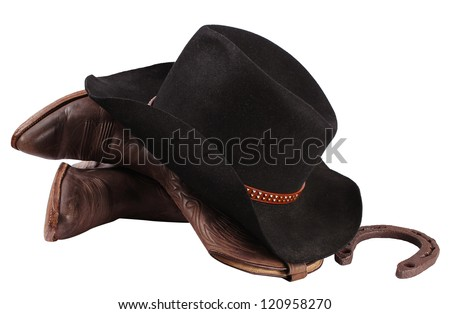 Cowboy clothes isolated on white.Western boots and black hat - stock photo