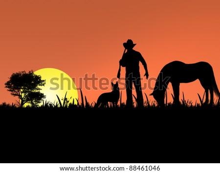 cowboy dog and horse - stock photo
