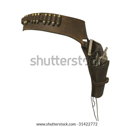 cowboy gun fighter holster isolated on white