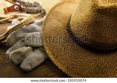 Cowboy hat and work gloves, rope, and spurs in the background. - stock photo
