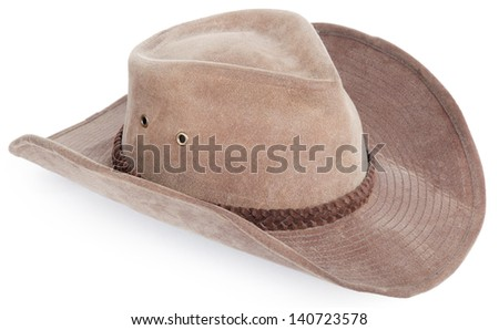 cowboy hat closeup, isolated background - stock photo