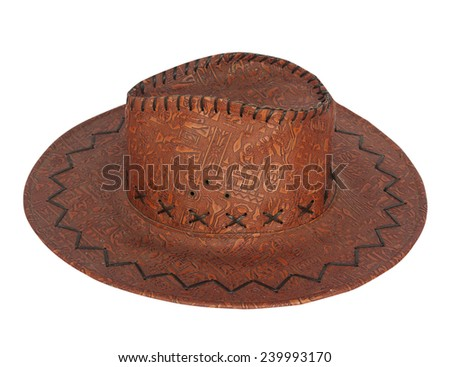 Cowboy hat, cowboy hat to block the sun, rain, wind, and can be worn to almost everywhere in toughness. Durable and comfortable to wear. - stock photo