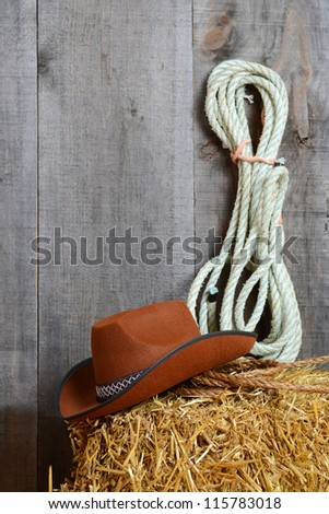 Cowboy hat on straw with ropes - stock photo