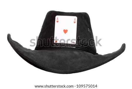 Cowboy hat with ace card. Successful and lucky man concept. - stock photo