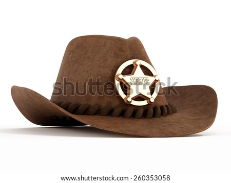 Cowboy hat with sheriff badge isolated on white background