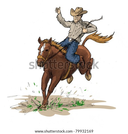 Cowboy, iIlustration - stock photo