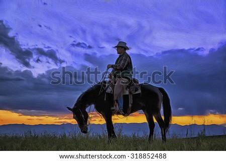 Cowboy on horseback photographed against dawn sky,photo art - stock photo