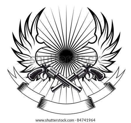 Cowboy revolvers with wings and ribbon for heraldic or tattoo design. Rasterized version also available in gallery - stock photo