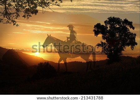Cowboy riding a horse in the sunset in a horizontal format. - stock photo