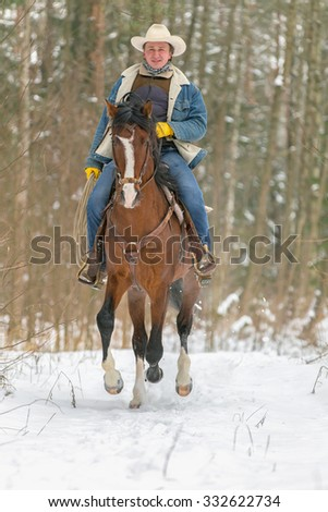 Cowboy riding bay horse in winter forest. - stock photo