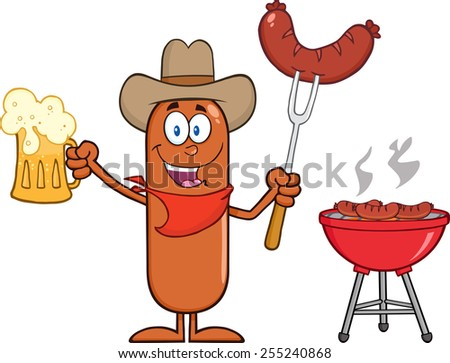 Cowboy Sausage Cartoon Character Holding A Beer And Weenie Next To BBQ. Raster Illustration Isolated On White - stock photo