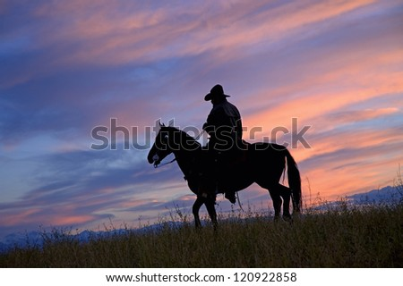 Cowboy silhouette - stock photo