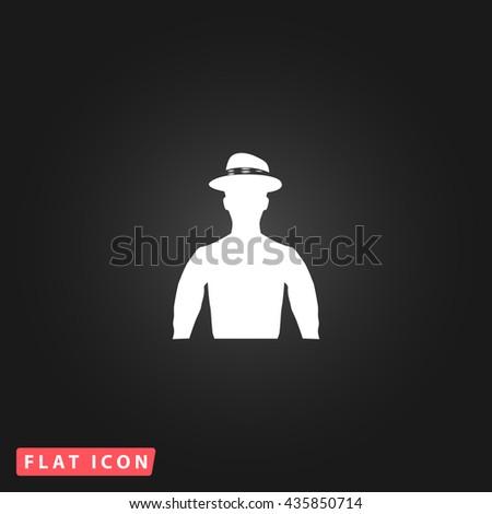 Cowboy White flat icon on dark background. Simple illustration pictogram - stock photo