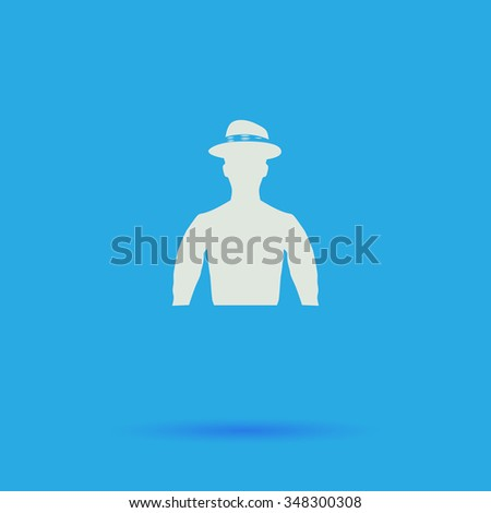 Cowboy White flat simple pictogram on blue background with shadow  - stock photo