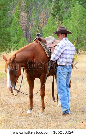 Cowboy with his horse in the field  - stock photo
