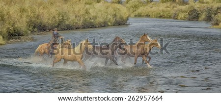Cowboy,with lasso,rounding up horses in river. Digital oil painting - stock photo