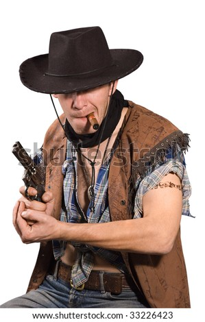 cowboy with revolver in his hand  on white background