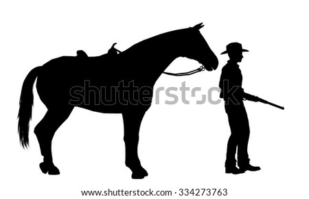 Cowboy with rifle and Horse silhouette