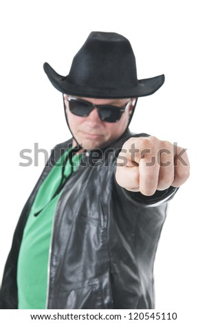 Cowboy with sunglasses pointing on a white background