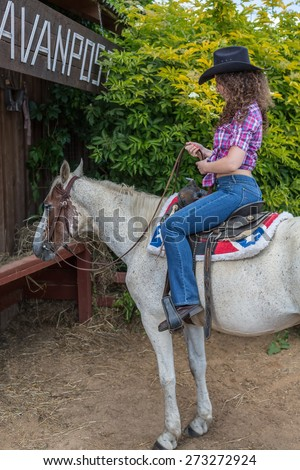 cowboy woman in a hat on a horse - stock photo