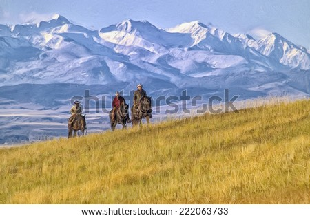Cowboys riding the range in Montana