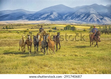 Cowboys rounding up wild horses on Montana ranch. Digital oil painting