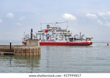Cowes/UK. June 8th 2016. A Red Funnel ferry service is arriving into East Cowes ferry terminal from Southampton Town Quay.