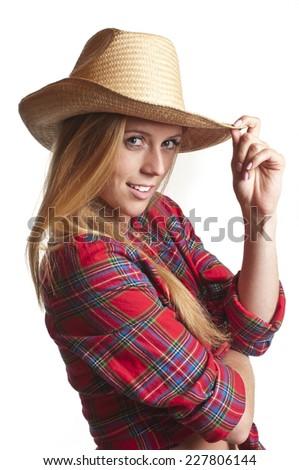 Cowgirl isolated on white background. Studio shot - stock photo