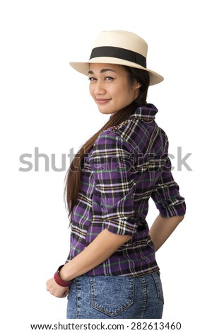 Cowgirl with a shapely figure isolated. Portrait of Asia