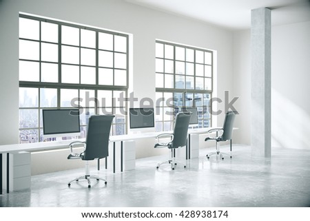 Coworking office interior with computers, concrete floor, walls, columns and windows with city view. 3D Rendering
